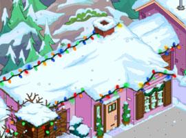 Рождественский розовый дом