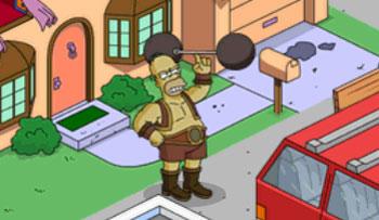 Силач Гомер со штангой