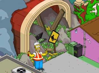Гомер взрывает туннель в горах