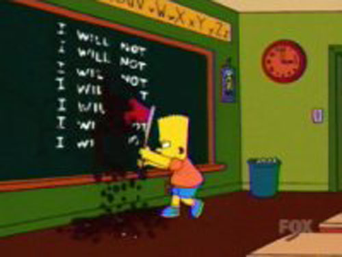 Барт Симпсон рисует на доске