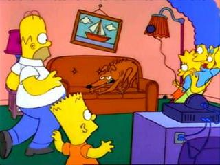 Собака рычит на Симпсонов