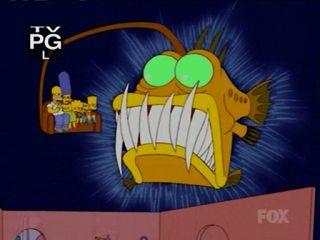 Рыба проглатывает Симпсонов