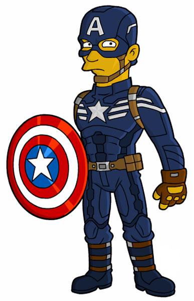В костюме Капитана Америка