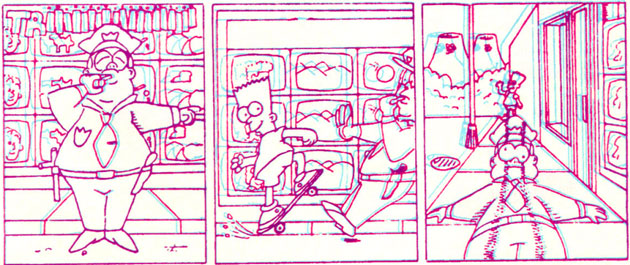 Барт удирает на скейте от полицейского