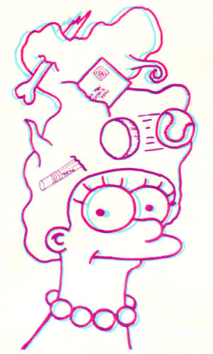 Мардж Симпсон с мусором в волосах