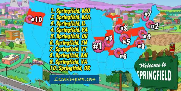 Карта Спрингфилдов в Америке
