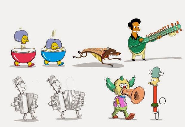 Пародия Симпсоны на музыкальные инструменты
