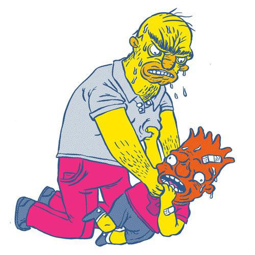 Карикатура на Симпсонов: Гомер душит Барта