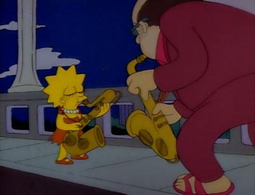 Лиза Симпсон играет на саксофоне