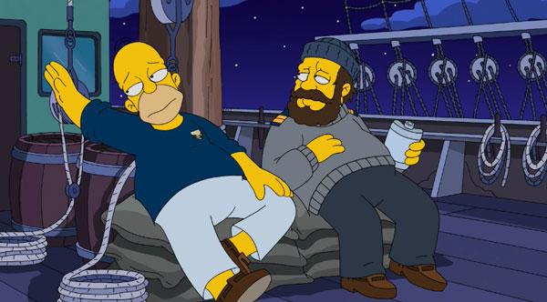 Капитан и Гомер пьют на палубе