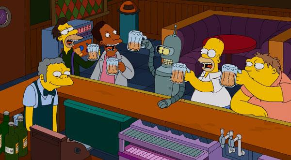 Бендер и Гомер в таверне Мо