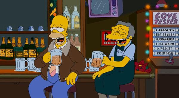 Гомер пьет с Мо