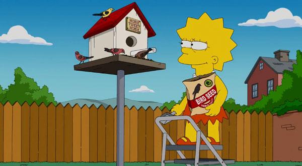 Лиза кормит птиц