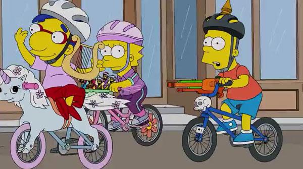 Барт, Лиза и Милхауз на велосипелах
