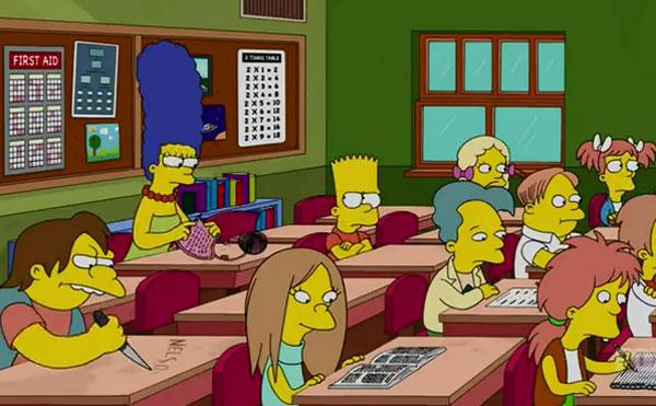 Мардж с Бартом в школе