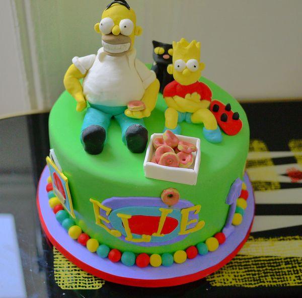 Праздничный торт с Гомером и Бартом