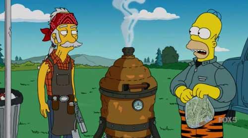 Гомер и коптилка для мяса
