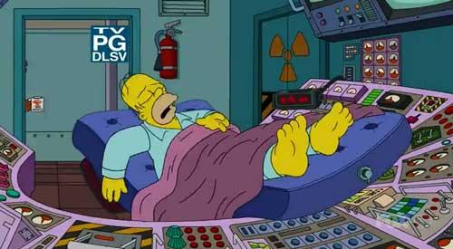 Гомер спит на работе
