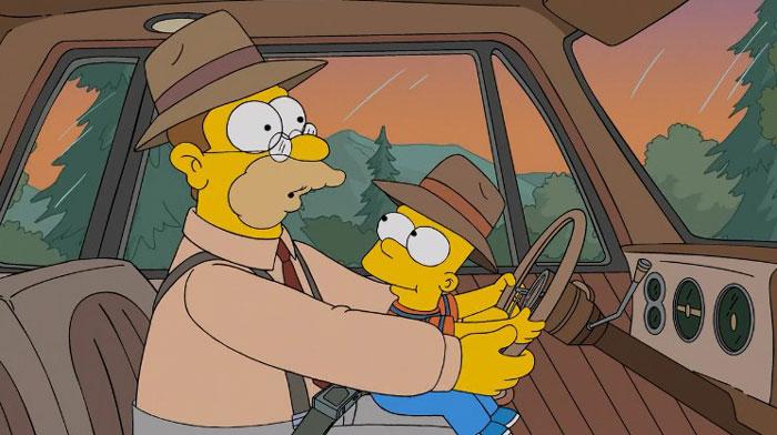 Барт с дедушкой за рулем