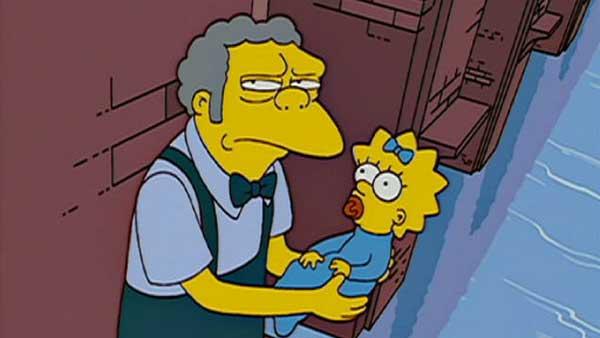 Мо спасает Мэгги Симпсон