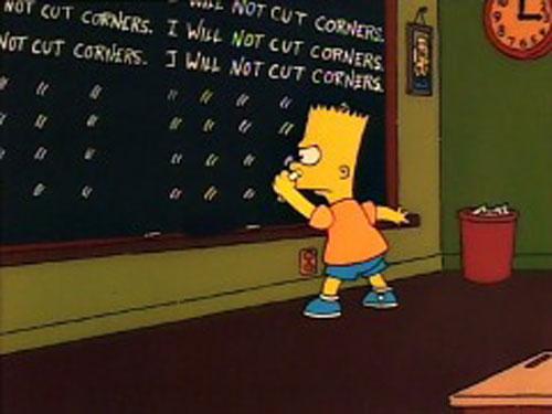 Барт Симпсон пишет на школьной доске