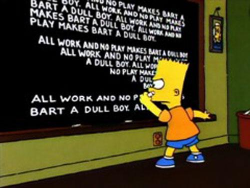 Барт пишет на доске