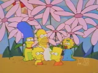 Симпсоны на фоне цветов
