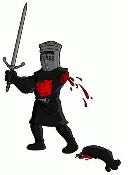 Черный рыцарь с отрубленной рукой