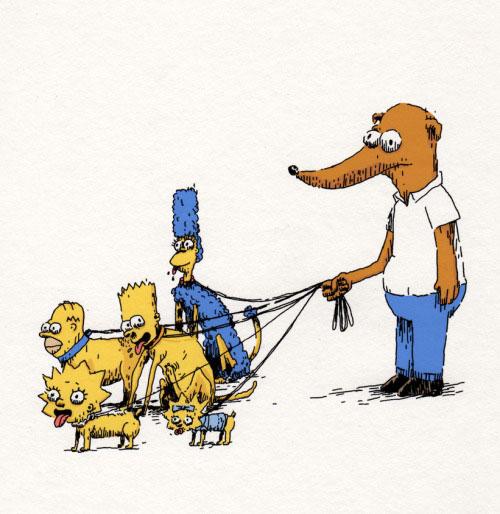 Маленький помощник Санты выгуливает семью Симпсонов на поводке