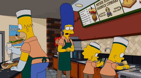 Симпсоны работают в магазине сэндвичей