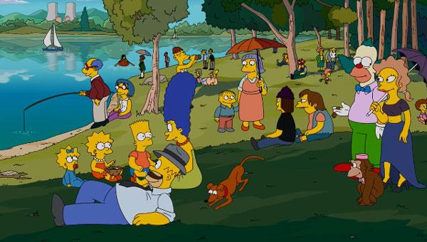 Симпсоны на пикнике у озера