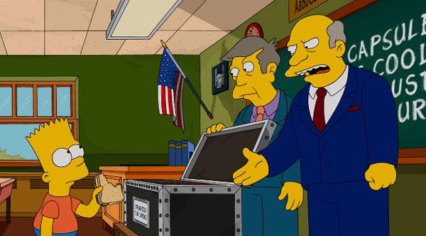 Барт кладет бутерброд в капсулу времени