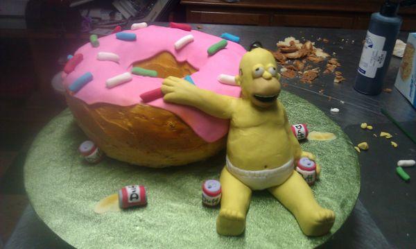 Гомер и торт в виде пончика
