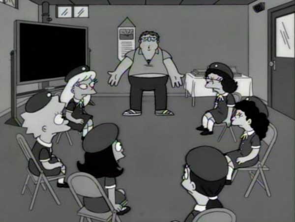 Барни Гамбл на встрече анонимных алкоголиков