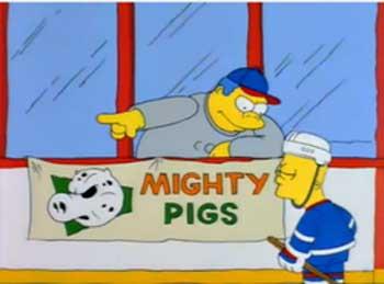 Барт Симпсон в хоккейной команде