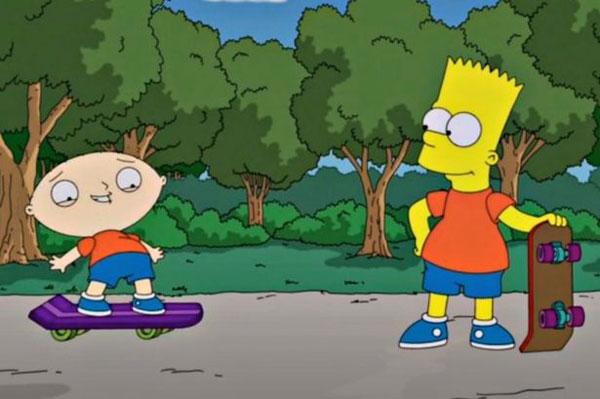 Барт учит Стьюи кататься на скейте