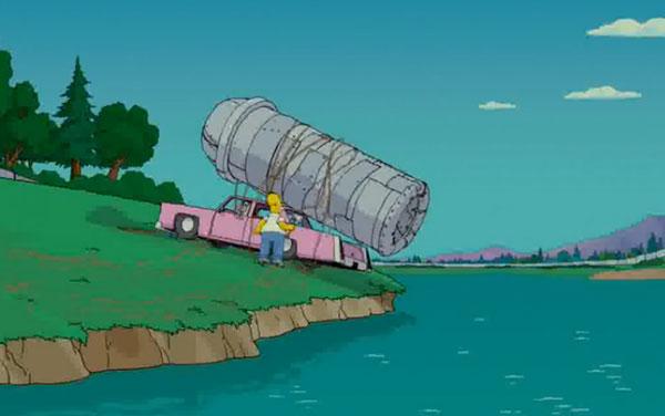 Симпсон скидывает отходы в озеро
